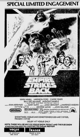 The Empire Strikes Back re-release listing
