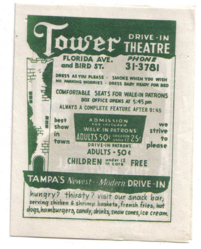 Playbill for Tower Drive-In