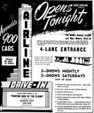 Airline Drive-In grand opening ad from January 25th, 1950