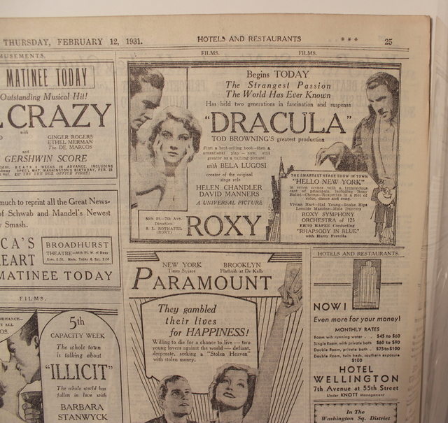Opening Day Ad for DRACULA ~Starring Bela Lugosi 1931