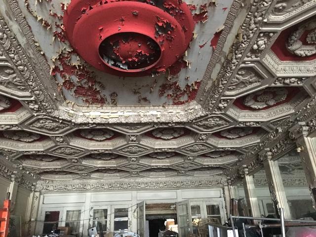 Lobby ceiling Adams theater