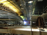 <p>the new framework attached the the old curved ceiling steels which have been relocated higher up to allow for the increased height of the IMAX screen. All the old HVAC ducts have been cut out and moved higher up also.</p>