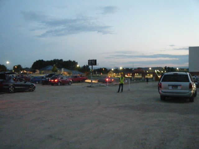Terrace Drive-In parking lot so full, they had to park on the other side of the fence (07-01-2017)