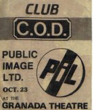 10-23-82 backstage pass for Public Image Limited courtesy of Chuck P. Kass.