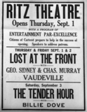 Opening Night Ad Ritz Theatre, Carteret NJ