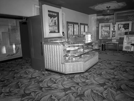Castle Theater concession stand February 16, 1953. ISU Milner Archives photo.