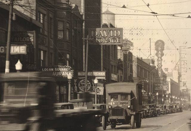 Harding sign on the far right. 1927 photo credit Logan Square Preservation Facebook page.