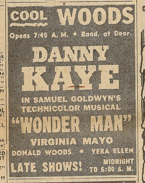 Newspaper ad from Aug. 15, 1945 Chicago Herald-American showing what was playing at the Woods Theatre