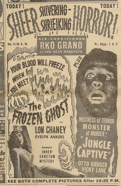 Newspaper ad from Aug. 15, 1945 Chicago Herald-American showing what was playing at the RKO Grand Theatre