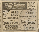 Newspaper ad from Aug. 15, 1945 Chicago Herald-American showing what was playing at the McVickers Theater