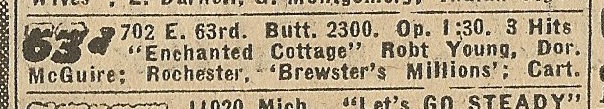 Newspaper ad from Aug. 15, 1945 Chicago Herald-American showing what was playing at the 63rd Street Theatre