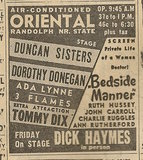 Newspaper ad from Aug. 15, 1945 Chicago Herald-American showing what was playing at the Oriental Theatre