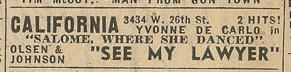 Newspaper ad from Aug. 15, 1945 Chicago Herald-American showing what was playing at the California Theatre