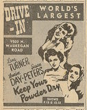 Newspaper ad from Aug. 15, 1945 Chicago Herald-American showing what was playing at the Morton Grove Drive-In