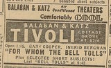 Newspaper ad from the Aug. 15, 1945 Chicago Herald-America showing what was playing at the Tivoli Theatre