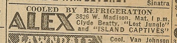 Newspaper ad from Aug. 15, 1945 Chicago Herald-American showing what was playing at the Alex Theater
