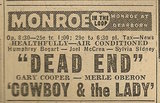 Newspaper ad from Aug. 15, 1945 Chicago Herald-American showing what was playing at the Monroe Theatre
