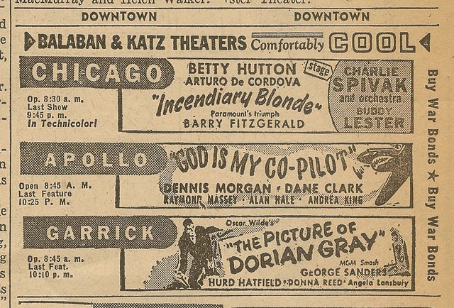 Newspaper ad from Aug. 15, 1945 Chicago Herald-American showing what was playing at the Chicago Theatre