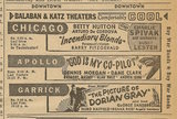 Newspaper ad from Aug. 15, 1945 Chicago Herald-American showing what was playing at the Garrick Theatre