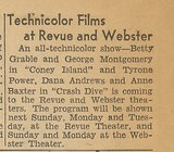 Newspaper article from Aug. 15, 1945 Chicago Herald-American telling what was playing at the Revue Theater