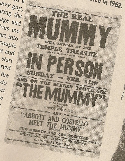 Newspaper ad showing what was playing on Sunday Feb. 11, 1962