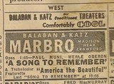 Newspaper ad from Aug. 15, 1945 Chicago Herald-American showing what was playing at the Marbro Theatre