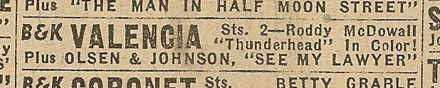 Newspaper ad from Aug. 15, 1945 Chicago Herald-American showing what was playing at the Valencia Theater