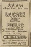 Newspaper ad from Oct. 6, 1979 Chicago Sun-Times showing what was playing at the Cinema Theater