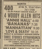 Newspaper ad from Oct. 6, 1979 Chicago Sun-Times showing what was playing at the 400 Theater