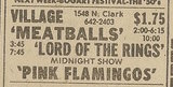 Newspaper ad from Oct. 6, 1979 Chicago Sun-Times showing what was playing at the Village Theatre
