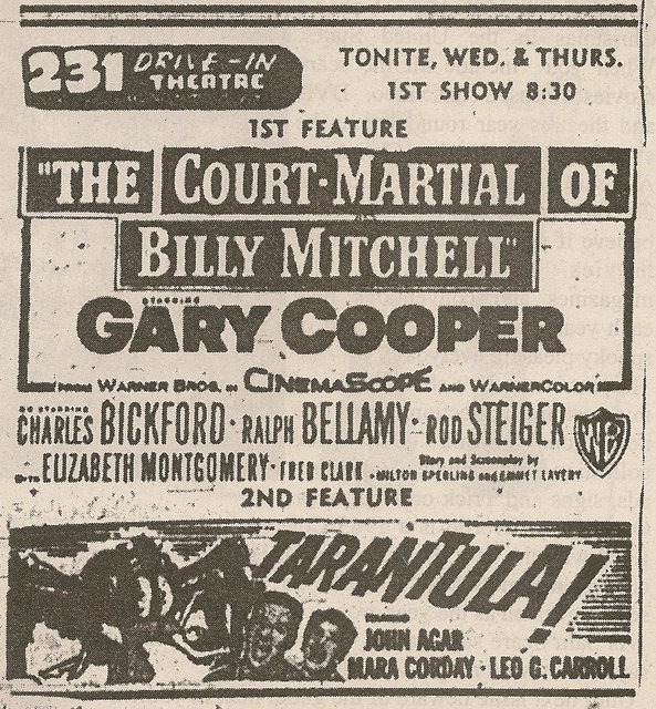 Newspaper ad from 1958 showing what was playing at the 231 Drive-In Theatre