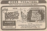 Newspaper ad from 1972 showing what was playing at the Woody's Drive-In Theatre