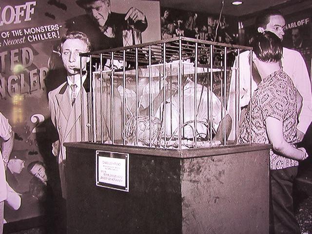 """Dec. 1958 on display at the Rialto Theatre a prop from the movie """"Fiend Without A Face"""""""