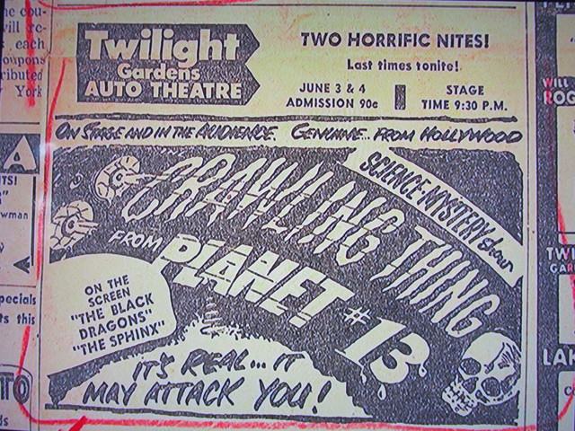 Newspaper ad from Dec. 1958 showing what was playing at the Twilight Gardens Drive-In