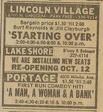 Newspaper ad from Oct. 6, 1979 Chicago Sun-Times showing what was playing at Lincoln Village