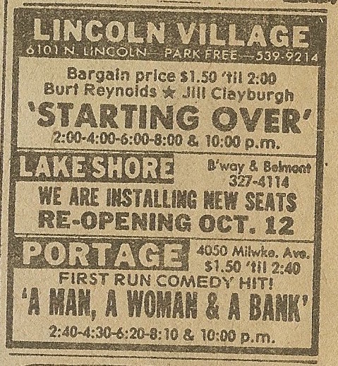 Newspaper ad from Oct. 6, 1979 Chicago Sun-Times showing when the Lake Shore Theater was to re-open on Oct. 12, 1979