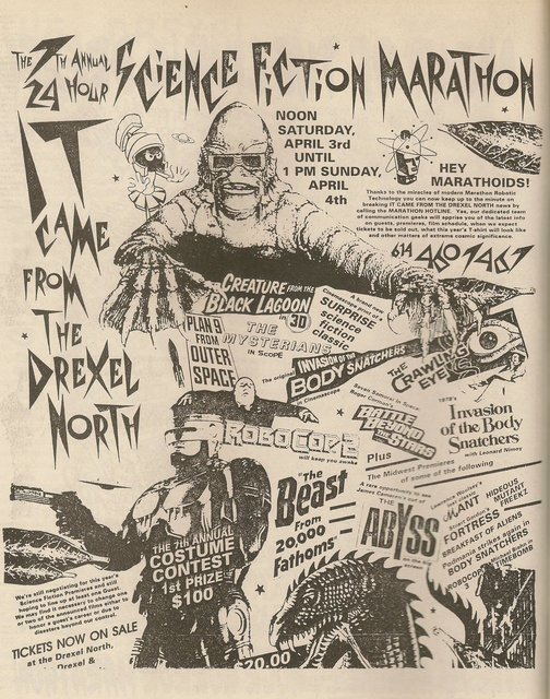 Advertisement for the 24 hour horror show at the Drexel North Theatre Apr. 3, 1994
