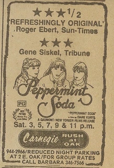 Newspaper ad from Oct. 6, 1979 Chicago Sun-Times showing what was playing at the Carnegie Theatre