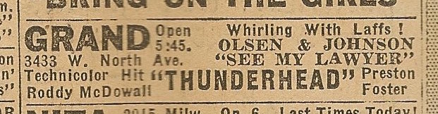 Newspaper ad from Aug. 15, 1945 Chicago Herald-American showing what was playing at the Grand Theater