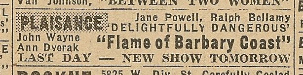 Newspaper ad from Aug. 15, 1945 Chicago Herald-American showing what was playing at the Plaisance Theater