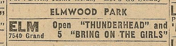 Newspaper ad from Aug. 15, 1945 Chicago Herald-American showing what was playing at the Elm Theater