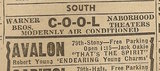 Newspaper ad from Aug. 15, 1945 Chicago Herald-American showing what was playing at the Avalon Theater