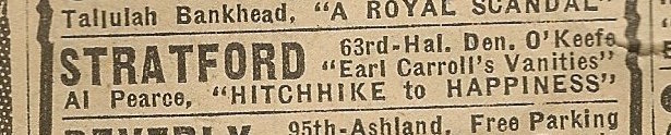 Newspaper ad from Aug. 15, 1945 Chicago Herald-American showing what was playing at the Stratford Theater