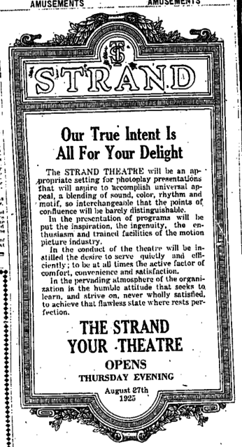 Ad for 1925 Opening of the Strand Theatre