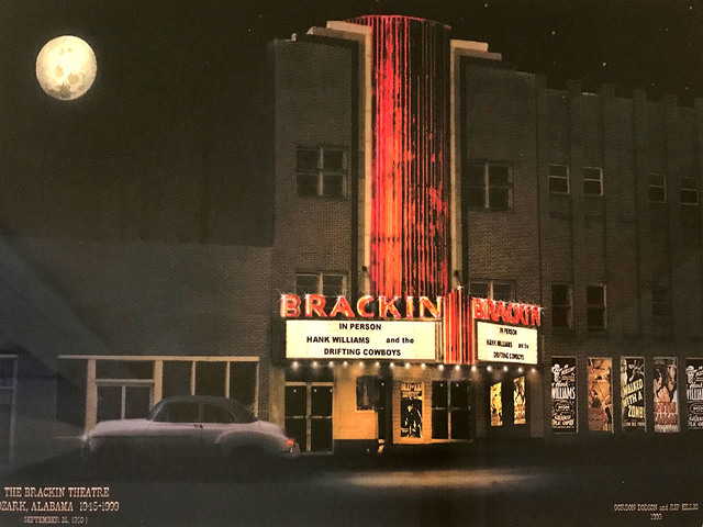 Artsy hand tinted photo of old Brackin Theater, Ozark, AL