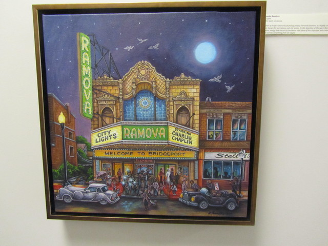 "Painting of the Ramova Theater by artist Fernando Ramirez titled ""City Lights"""