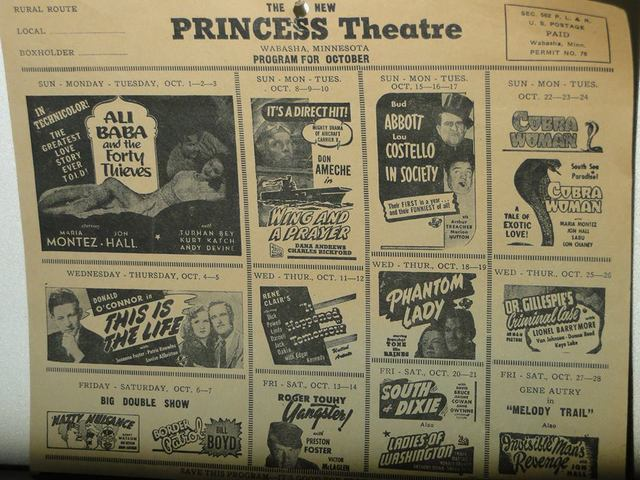 Princess Theater playbill (The Princess later became the Pem)