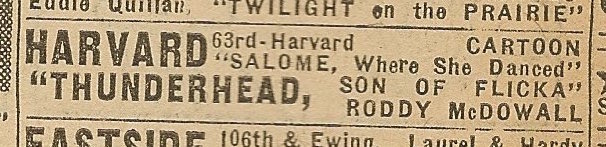 Newspaper ad from Aug. 15, 1945 Chicago Herald-American showing what was playing at the Harvard Theatre