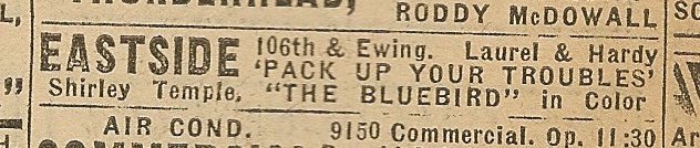 Newspaper ad from Aug. 15, 1945 Chicago Herald-American showing what was playing at the Eastside Theater
