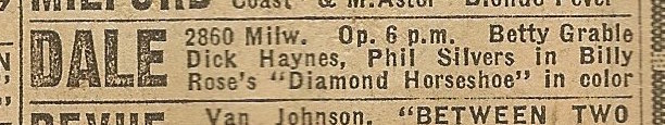 Newspaper ad from Aug. 15, 1945 Chicago Herald-American showing what was playing at the Dale Theater